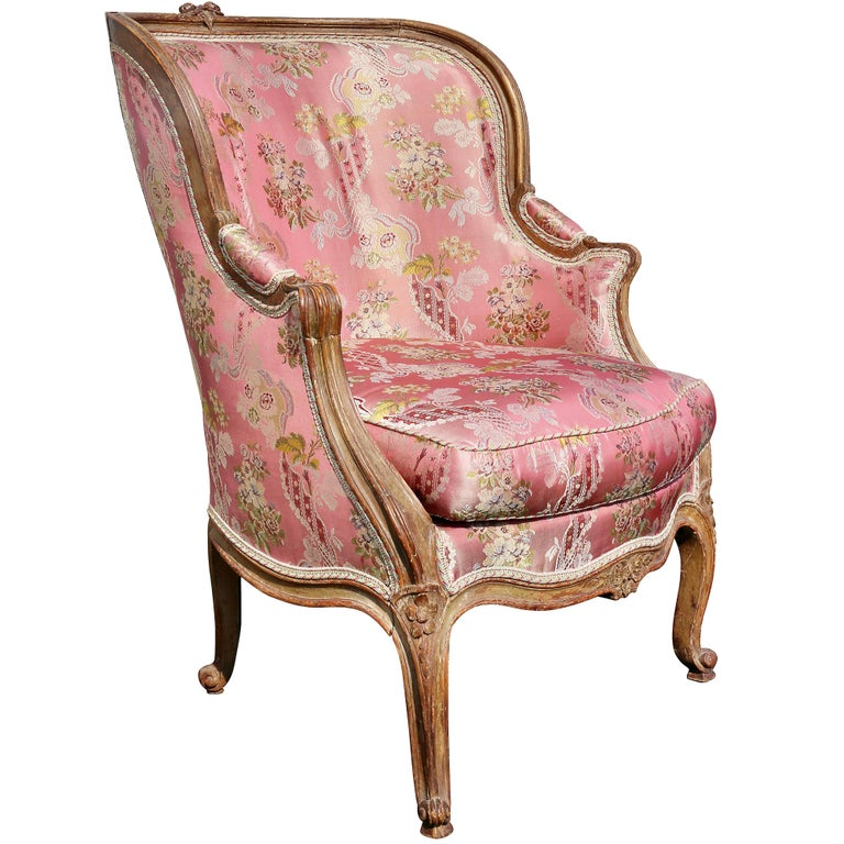 Louis XV Style Walnut and Painted Bergere Chair