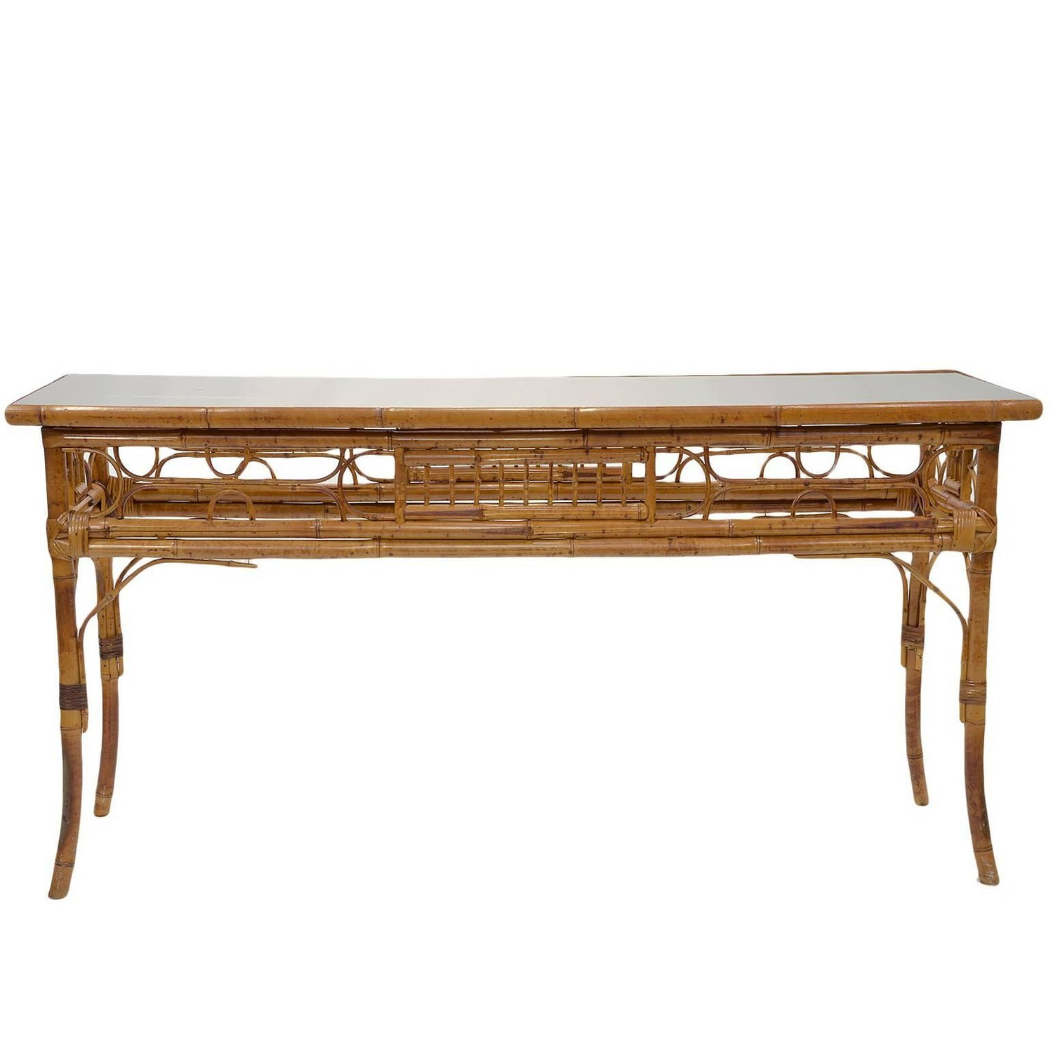 Vintage English Bamboo Sofa Console Table at 1stdibs