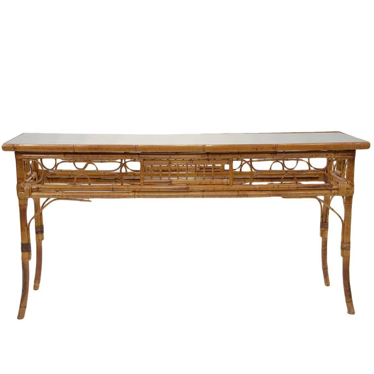 Vintage English Bamboo Sofa / Console Table 1