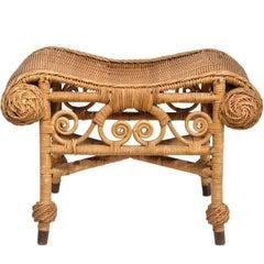 Late 19th Century, American Victorian Wicker Bench