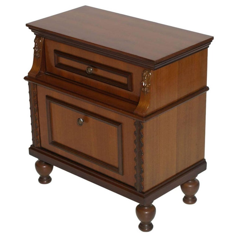 Mid-Century Modern Cabinet, Nightstand Renaissance Style, Walnut and Mahogany For Sale