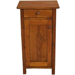 Early 20th Century Country Rustic Tyrolean Nightstand in Solid Pine Restored Wax