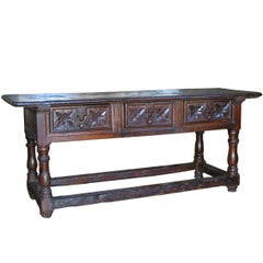 Walnut Baroque Table , Early 18th Century