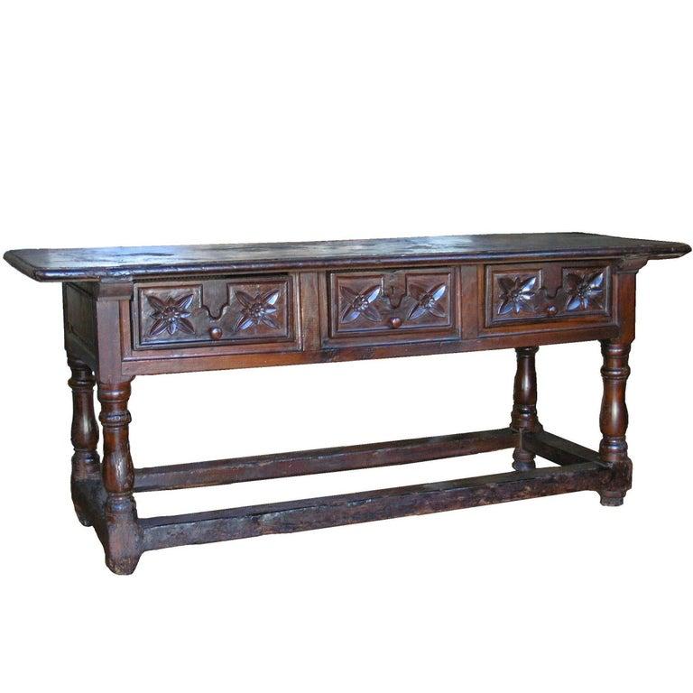 Walnut Baroque Table , Early 18th Century