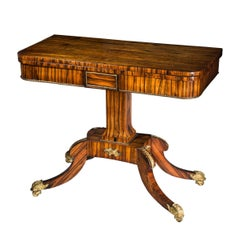 Early 19th Century English Regency Coromandel Ormolu-Mounted Console Card Table