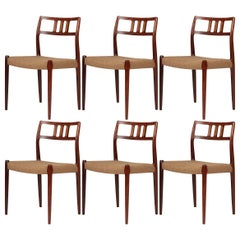 Rare Set of Six Niels Moller Rosewood No.79 Model Dining Chairs