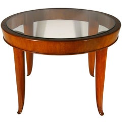 Italian Wood and Glass Round Coffee Table, 1940s