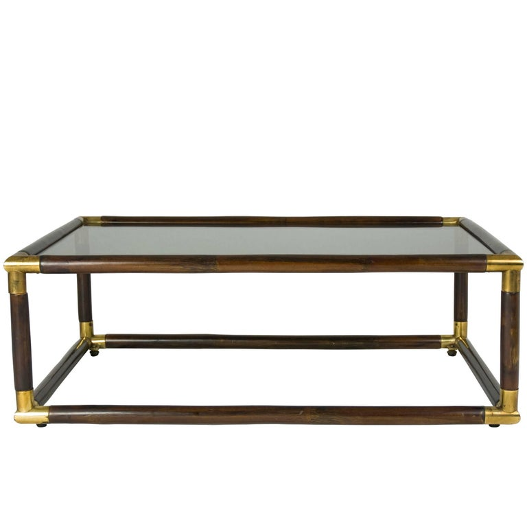 Bamboo and Brass Italian 1970s Coffee Table For Sale