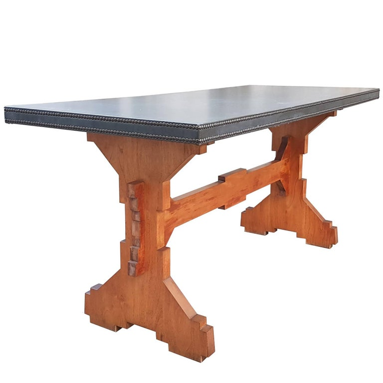 "Wood and Skai Italian ""Fratino"" Dining Table from 1950s"