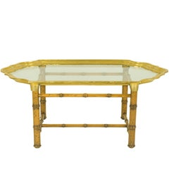Italian Wood and Brass 1970s Coffee Table