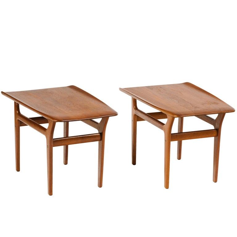 Pair of Danish Modern Teak Wood Side Tables in the Style of Poul Jensen