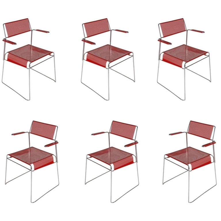 Set of Six Midcentury Postmodern Red Tomado Mesh Dining Chairs from Holland