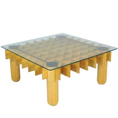 Beechwood and Glass 1970s Coffee Table