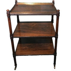 Antique George III Rosewood Whatnot of Three Tiers, circa 1810