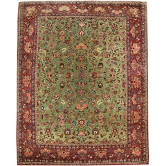 Antique Persian Rugs, Lime Green Rug, Floor Rug From Kashan