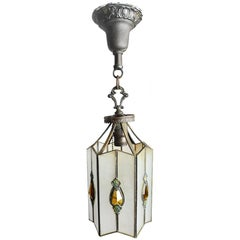 Leaded Glass Pendant with Amber Teardrops, circa 1930