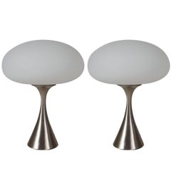 Mid-Century Modern Glass & Silver Mushroom Table Lamps by Laurel Lamp Company