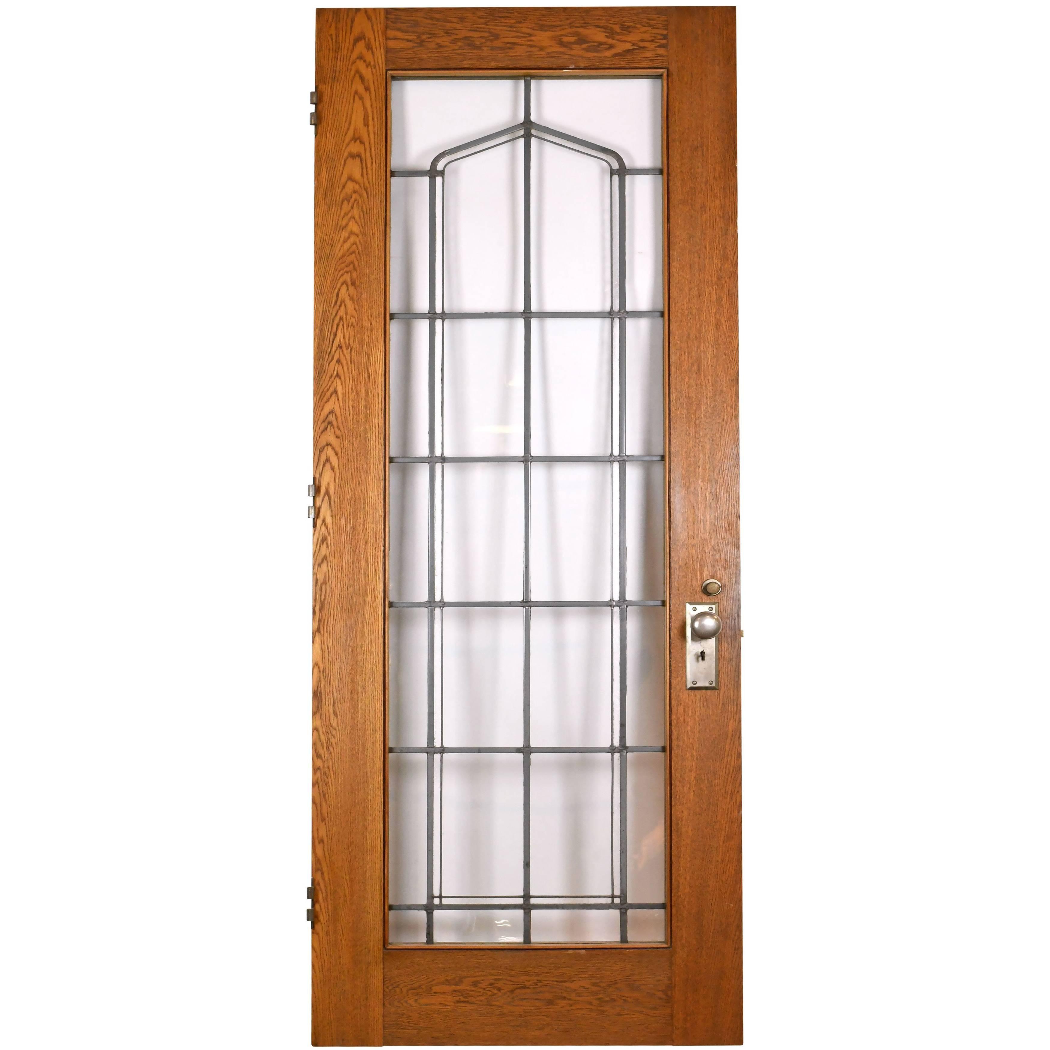 Leaded Glass Oak Door
