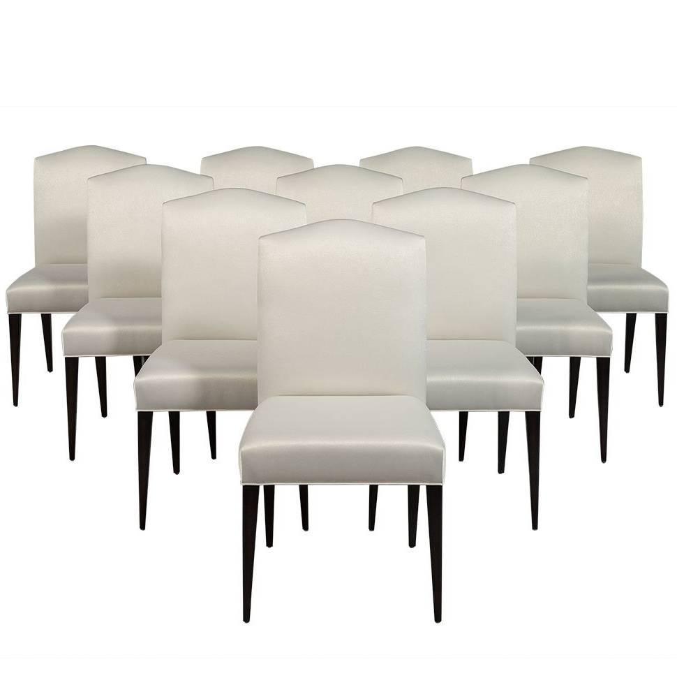 set of ten carrocel custom amara modern parson dining chairs