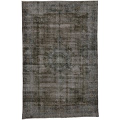 Vintage Persian Tabriz Rug Overdyed in Brown with Modern Industrial Style