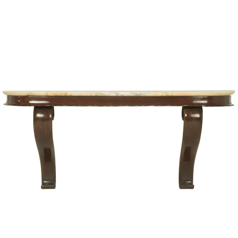 Wood and Marble Italian 1950s Wall-Mounted Console Table from Fratelli Barni For Sale
