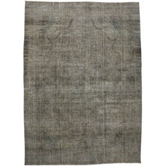 Rustic Modern Industrial Style Vintage Persian Overdyed Area Rug