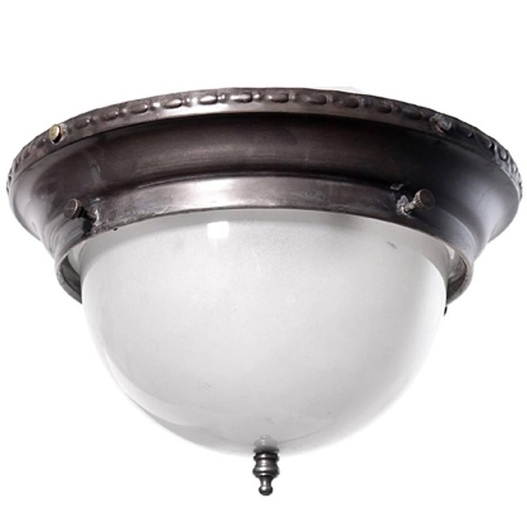 Small Dome Brass and Frosted Glass Flush Mount
