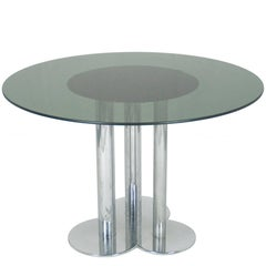 Chromed Metal & Smoked Glass Trifoglio Table by Sergio Asti for Poltronova, 1969