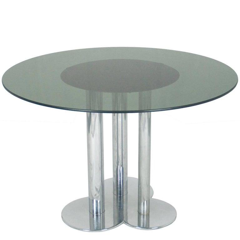 Chromed Metal & Smoked Glass Trifoglio Table by Sergio Asti for Poltronova, 1969