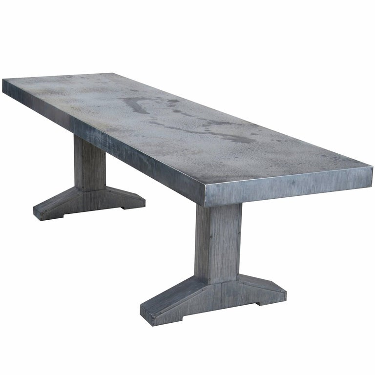 Piet Hein Eek Grey Outdoor Zinc Dining Table For Sale