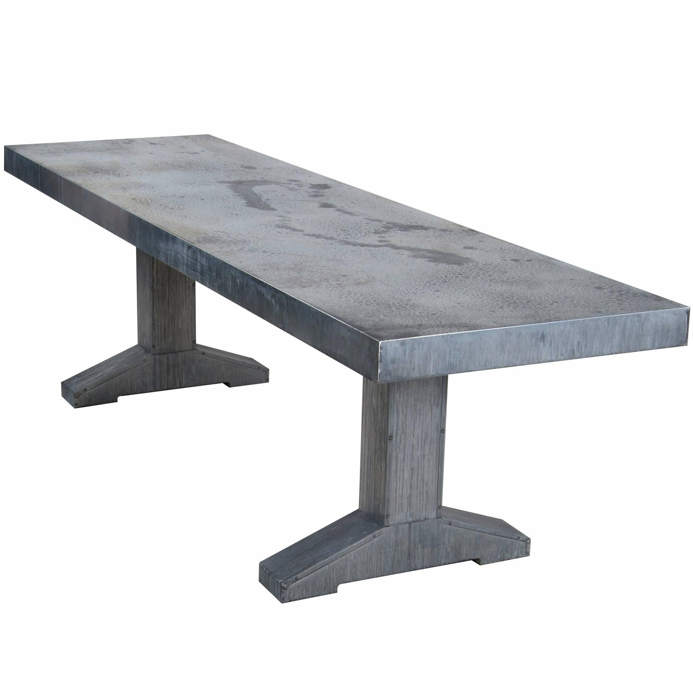Piet Hein Eek Grey Outdoor Zinc Dining Table 1