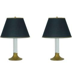 Pair of Italian Brass and Plexiglass 1970s Abat Jours