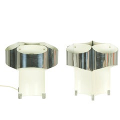 Pair of Italian Chrome and Painted Metal, 1960s Nightstand Table Lamps