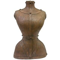 Contemporary Italian Modern Couture Sculpture of a Bust in Brown Terra Cotta