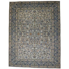 Vintage Kashan Light Blue Persian Rug with Traditional Style