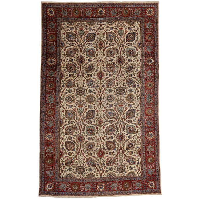 Vintage Tabriz Persian Rug with Modern Style and Cream Field