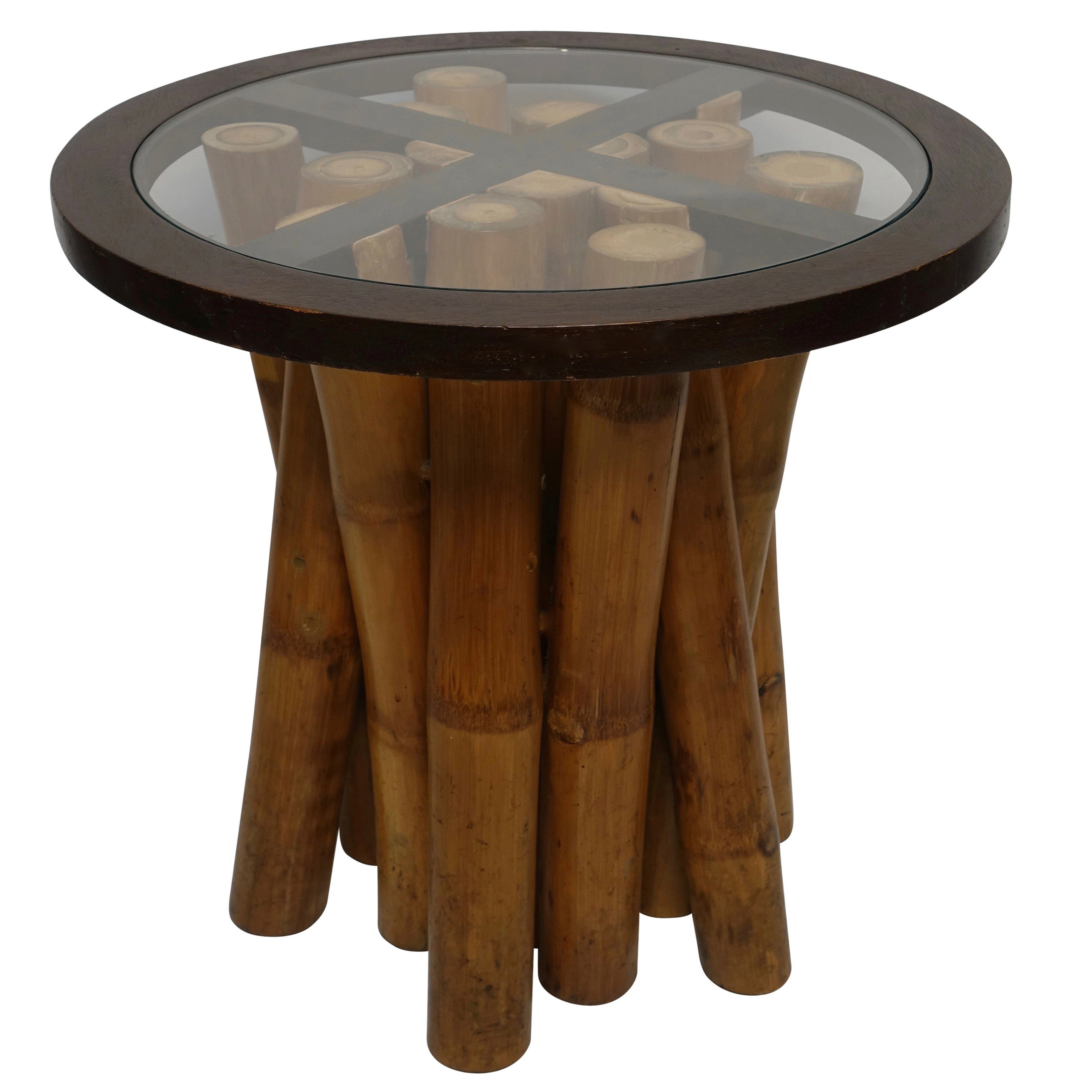 Mid Century Round Bamboo and Glass Side Table, Organic Modern circa 1970