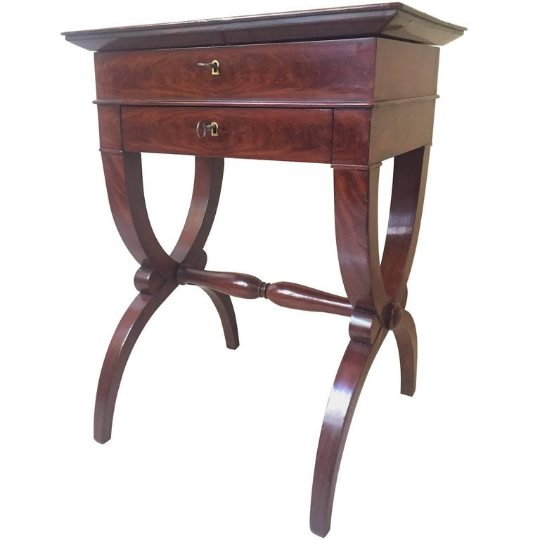 French Mahogany Work Table, 1830 For Sale