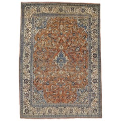 Orange and Blue Vintage Persian Mahal Rug