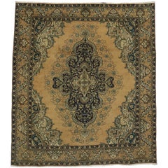 Vintage Persian Tabriz Area Rug with Neoclassical Hollywood Regency Glamour