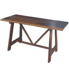 Tuscan Trestle Walnut farm table , 19th Century