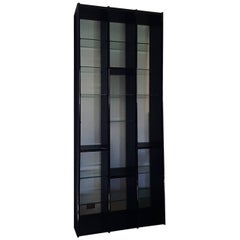 Giotto Stoppino Italian Black Lacquered  Bookcase with Crystal Glass Shelves