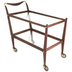 Mahogany Serving Cart number 58 by Ico Parisi for De Baggis, Italy, 1950-1957