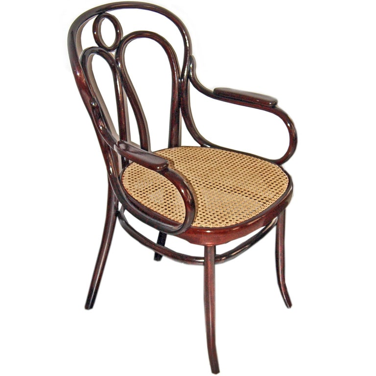 Art Nouveau Bentwood Armchair 36 J. & J. Kohn Vienna Mahogany Stained Made 1905 For Sale