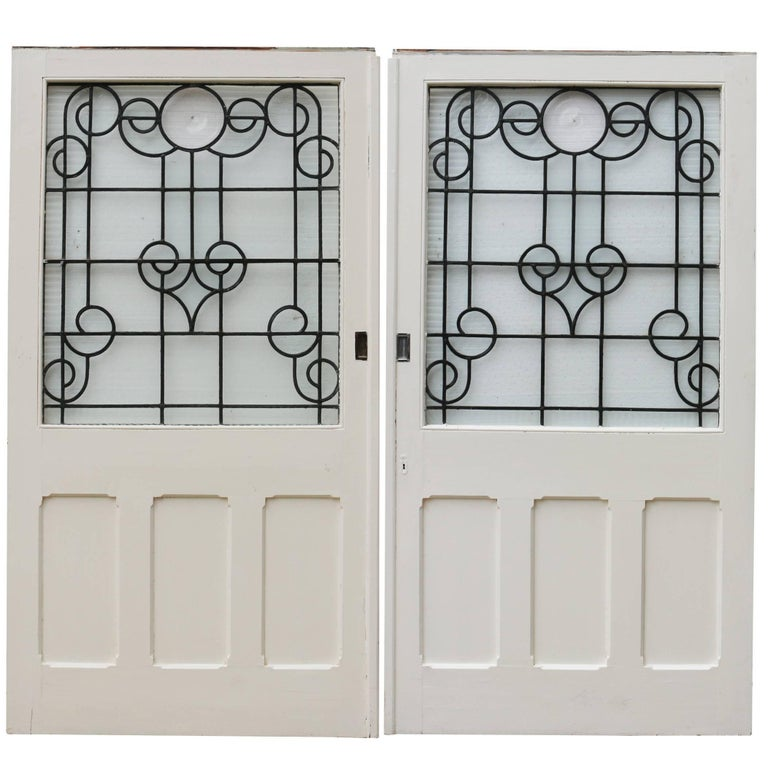 Pair of Painted Pine Antique Dividing Doors For Sale