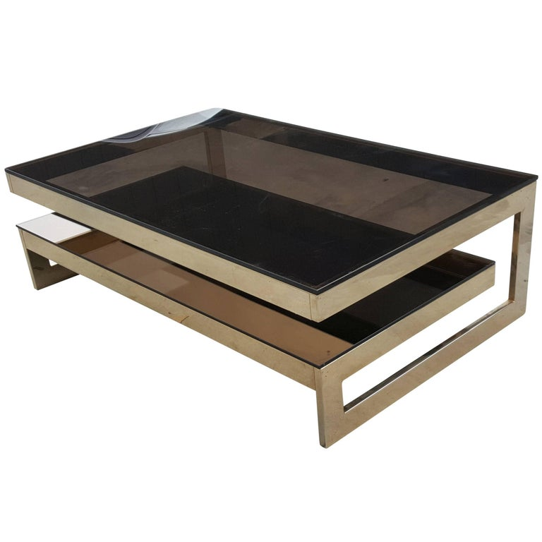 Gold Plated Coffee Table: G-Shaped,Gold-Plated Coffee Table By Belgo Chrom , In The