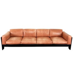 Bastiano Sofa Four-Seat Cognac Leather by Tobia Scarpa