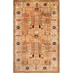 Large Size Vintage Oriental Indian Agra Rug