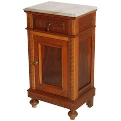 Mid-19th Century Neapolitan Nightstand, White Carrara Marble Top