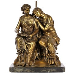 Neoclassical Bronze Figural Group Mounted as a Lamp